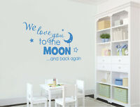 We love you to the moon and back again wall quote sticker | Nursery Wall Sticker