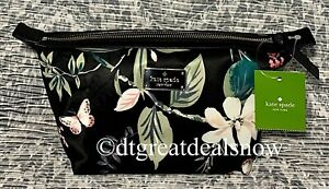 NEW Kate Spade Jodi Wilson Road Botanical Blackmulti Cosmetic Case Clutch