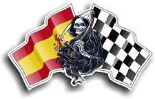 La morte il tristo mietitore & Spagna spagnolo Bandiera RACING Vinile Casco Auto Adesivo Decalcomania