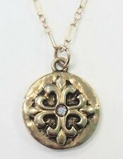 NWT Mad Coin Rachel Abroms Antique Gold Swarovski Crystal Crest Cross Necklace