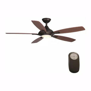 Home Decorators Petersford 52 in. LED Indoor Oil Rubbed Bronze Ceiling Fan