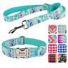 Dog Leash Personalized Dog Collar Set Custom Engraved Name Nylon Adjustable XS-L