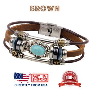 Retro Synthetic Turquoise Unisex Men Women Leather Wristband Bracelet