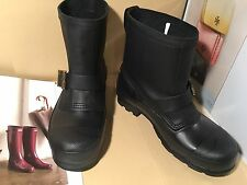 HUNTER ORIGINAL MENS BLACK SHORT BIKER RAIN RUBBER LETHER BOOTS SZ 8