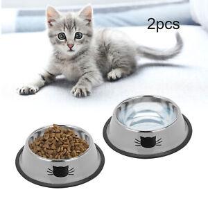2 x  Bowls Pet Cat Kitten Feeder Food Drink Water Dish Puppy Dog Feeding
