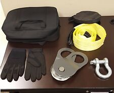 Winching Kit- 8 ton pulley, gloves, 6ft strap, shackle