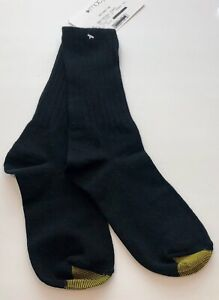 (NWT) Women's Gold Toe Black Ribbed Crew Socks One Pair Size 9-11