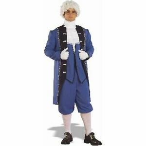 Mens Adult Colonial American MILITARY Blue Suit Costume