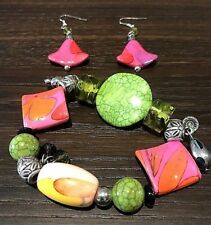 Chunky Glass Bead Bracelet Earrings Set Pink Green Bohemian Artsy Funky