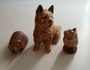 3x Wade Whimsies Scottie dog, hedgehog and owl vintage animals
