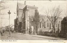 Original over 100 year Postcard of the Dover Town Hall with shops and tram