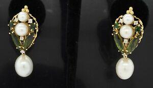 Heavy 18K gold 10.40CTW diamond/tourmaline & 11mm pearl drop dangle earrings
