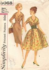 1950s Vintage Sewing Pattern Misses' Dress Slim & Full Puff Skirt Wide Collar