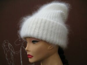 Beanie  hat cap double handknitted Russian goat down yarn Cashmere soft warm
