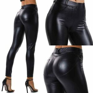 Womens PU Leather Yoga Pants Push Up Workout Stretch Leggings Butt Lift Trousers
