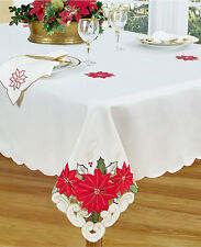 "Homewear HOLIDAY Table Linens Cutwork POINSETTIA TRIO 60"" x 84"" Tablecloth"