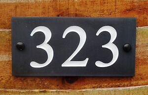 Deep Engraved Honed Natural Slate House Number Sign Plaque HIGH QUALITY 20x10cm
