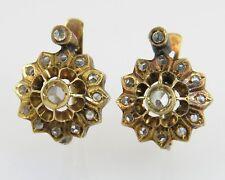 Antique Estate 10k Gold .33ct Genuine Rose Cut Diamond Edwardian Earrings