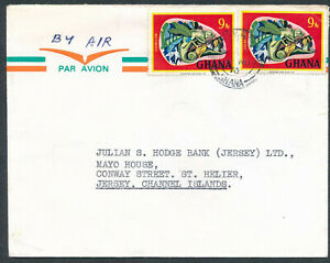ZD2083= GHANA  Air Mail Cover to Jersey Channel Isles   1970