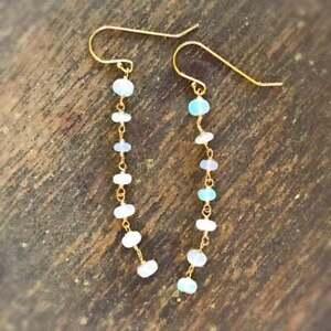 White Ethiopian Opal Beads Earring Silver 925 Sterling Gemstone Women's Jewelry