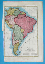 1800 NICE ORIGINAL MAP PATAGONIA ARGENTINA CHILE PERU COLOMBIA BUENOS AIRES LIMA