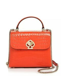 🌺🌹kate spade Romy Small FIRELILY/GOL Crocodile-Embossed Patent Leather Satchel