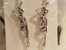 Silver Tone Hanging Skeleton Holloween Fashion Earrings - Gothic - Jewelry