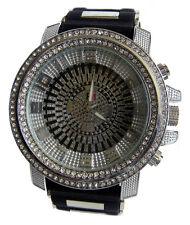 Micropave Negro & Plateado Correa De Goma Hiphop Bling Reloj
