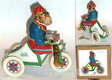 A-10 Monkey on a Tricycle Retro Clockwork Wind Up Tin Toy w/Box