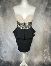 LIPSY Bandeau Fitted Mini Peplum Dress Floral Netting Nude & Black UK 10 Party