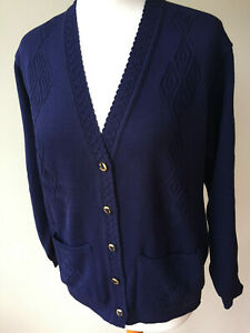 LADIES,WOMENS,LADYS, NAVY BLUE  XXL V-NECK  LONG SLEEVED CARDIGAN WITH POCKETS
