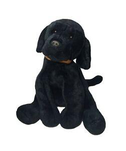 """15"""" GUND Black Puppy Dog Stuffed Animal Toy BOOMER 13015 Brown Collar Lab Floppy"""