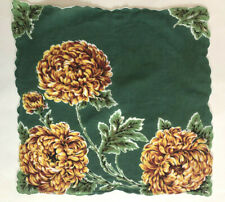 Vintage Ladies Hankie BIG Yellow Flowers on Green Background Scalloped Edges