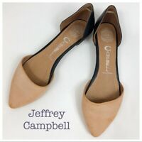 Jeffrey Campbell In Love Black Tan Pointed Toe Flats Size 7