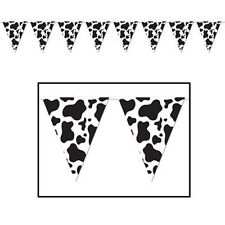 1 Cow Print Animal Flag Party Banner Decoration Farm Tractor