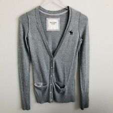 Abercrombie & Fitch Womens Cardigan Sweater Small Gray Bling Buttons Work Casual
