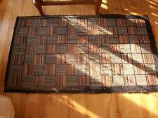 """Antique hooked rug colorful squares folk art design very artistic 60""""x 35"""""""