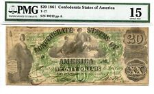 1861 $20 Confederate Currency T-17 Pmg 15 Choice Fine