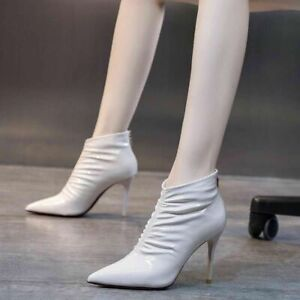 Womens Sexy Pointed Toe Stiletto Ankle Boots High Heels Party Dress Shoes Size