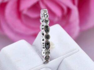 0.80Ct Round Cut Black Diamond Full Eternity Wedding Band 14k White Gold Finish