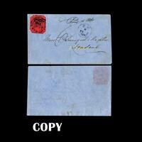 Cover of Plantation Caledonia to London,1856 4c black on magenta, $70'000,Copy