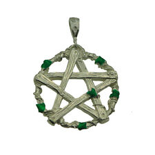 Pentagram Pan Greek mythology Sterling silver charm Green Leaves Nature Celtic