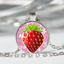Strawberry photo Tibet silver dome Glass Cabochon Necklace chain Pendant #477