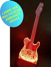 LAMPE GUITARE TELECASTER ambiance -multicolor- chevet enfant - 3 piles AA / USB