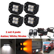 4x White/Amber/Strobe LED Work Light Flush Mount Flood Beam Pods Fog & Harness