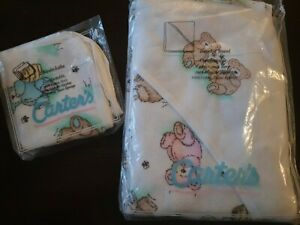 Carter's Hooded Towel & washcloths Cotton Terry Vintage Teddy Bear Pink Blue NEW