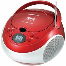 NAXA PORTABLE STEREO MP3 / CD PLAYER with AM/FM STEREO RADIO RED NEW