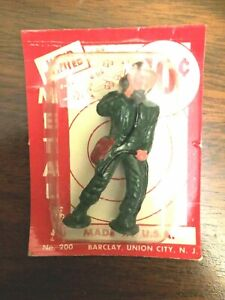 Barclay - Lead Toy Dime Store Pad Foot Soldier - TALKING ON FIELD PHONE