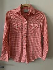Vintage H Bar C Red Gingham Check Long Tail Snap Button Western Shirt Size 30