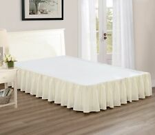 """Chezmoi Collection Solid Beige Ruffled 15"""" Drop Bed skirt Dust Ruffle, Cal King"""